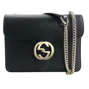 Gucci interlocking GG calfskin black leather bag